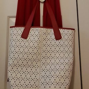 White vinyl perforated tote Saks 5th Ave